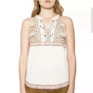 Willow & Clay White Embroidered Open Back Blouse